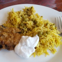 Aubergine, Pulao and Coconut Yogurt