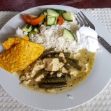 Rice, Coconut Yogurt, Green Thai Curry with Tofu and Beans, Cucumber Salad and Doritos (I added the last item)