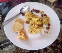 Upma, Rice Crackers and Hummus