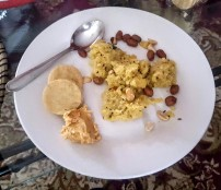 Upma, Rice Crackers and Hummus