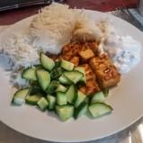 Tempeh, Rice, Cucumber and Coconut Yogurt