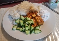 Tempeh, Rice, Cucumber and Coconut Yogurt