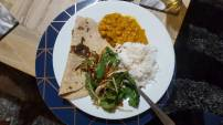 Chickpea Curry, Rice, Salad and Chapati (made by Rakcha at a dinner party)